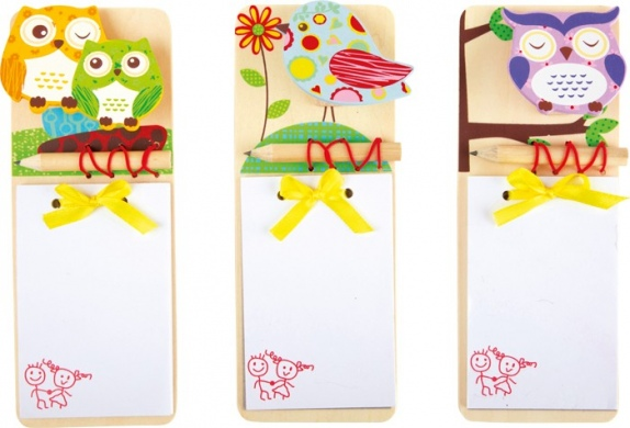 Birdy Wooden Note Pad and pencil