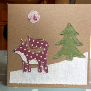 Handmade Cards Recycled Christmas Snow Fox
