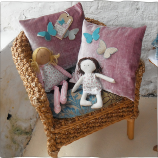 Rag dolls with butterfly cushion