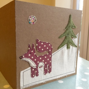Christmas Card Recycled Snow Fox