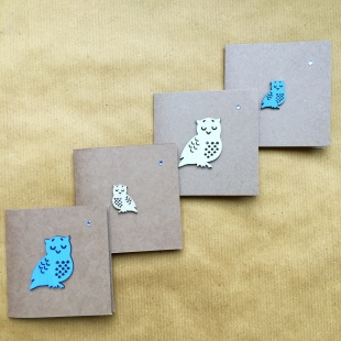 Recycled Card Owls Blue and White