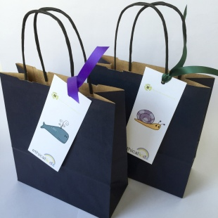 Blue Recycled Party Bags with recycled label