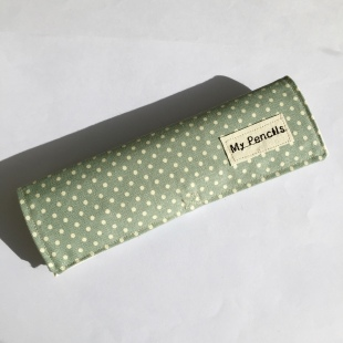 Pencil Case Handmade Green Dots