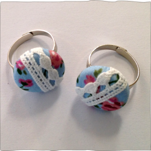 Hand decorated ring Blue Roses