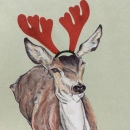 Deer card Red 2