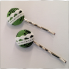 Hand decorated bobby pins Green Fern