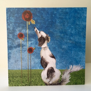 Dog & Roses Recycled Card