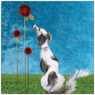 Dog and Roses Recycled Card