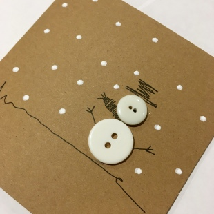Handmade Recycled Snowman Card