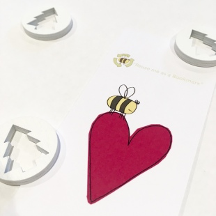 Recycled Bookmarks Heart & Bee Christmas