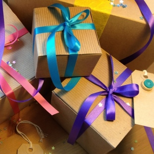 Recycled Gift Boxes and Ribbon