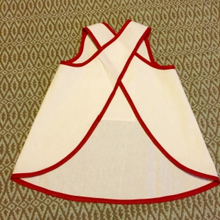 fabric crayons and apron