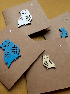 Recycled Card Owls