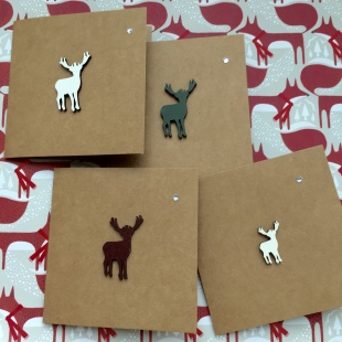 Recycled Card Stag Christmas