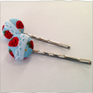 Hand decorated bobby pins Strawberry fields
