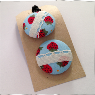 Hand decorated button bobbles Strawberry Fields
