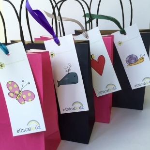 Recycled ink and Blue Party Bags recycled