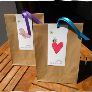 Recycled Gift Bag with Label ribbon