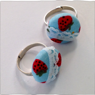 Hand decorated ring Strawberry Fields